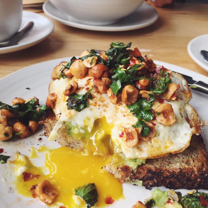 avocado egg toast with hazelnuts