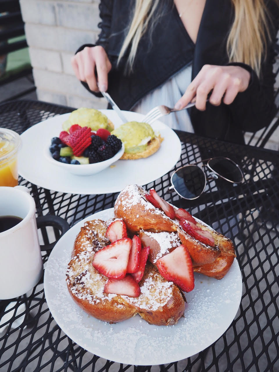 french toast with strawberries on a plate