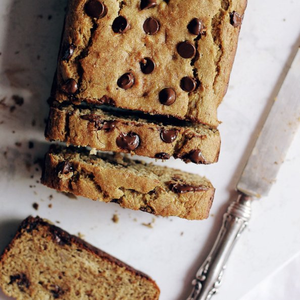 Chickpea flour banana bread with chocolate chips