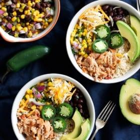 Chicken Burrito Bowls with avocado and jalapeño