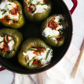 turkey stuffed bell peppers in a pot