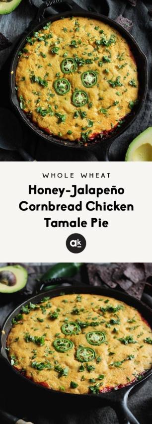 collage of chicken tamale pie