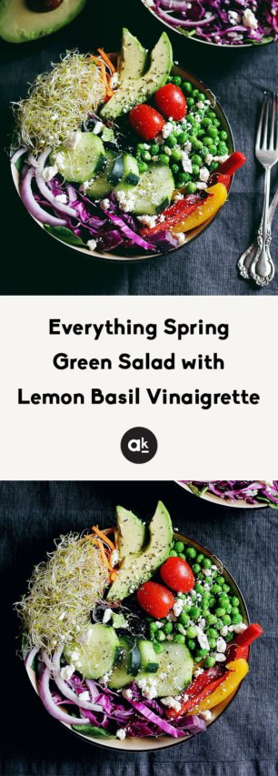 collage of spring green salad