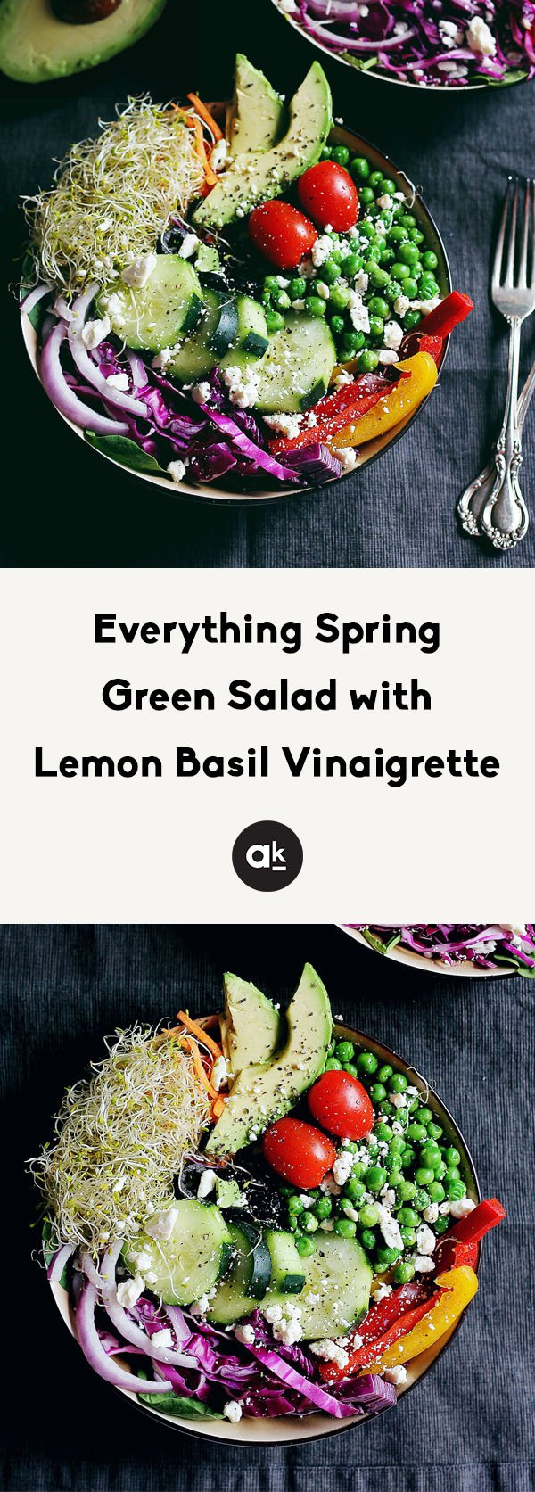 Beautiful & healthy spring green salad with fresh seasonal produce, seeds, avocado & the BEST basil lemon vinaigrette. Enjoy as a main meal, spring side salad, or it bring to a party!