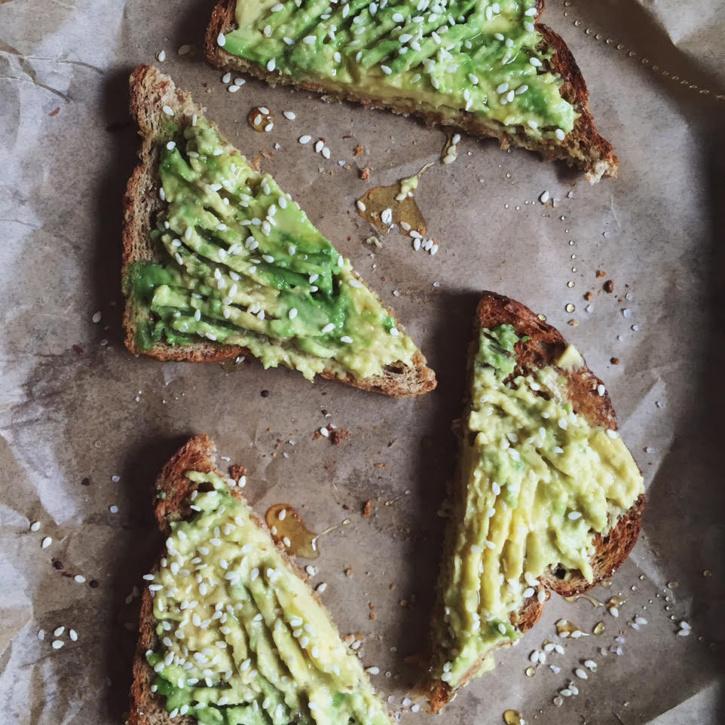avocado toast with sesame, honey & sea salt