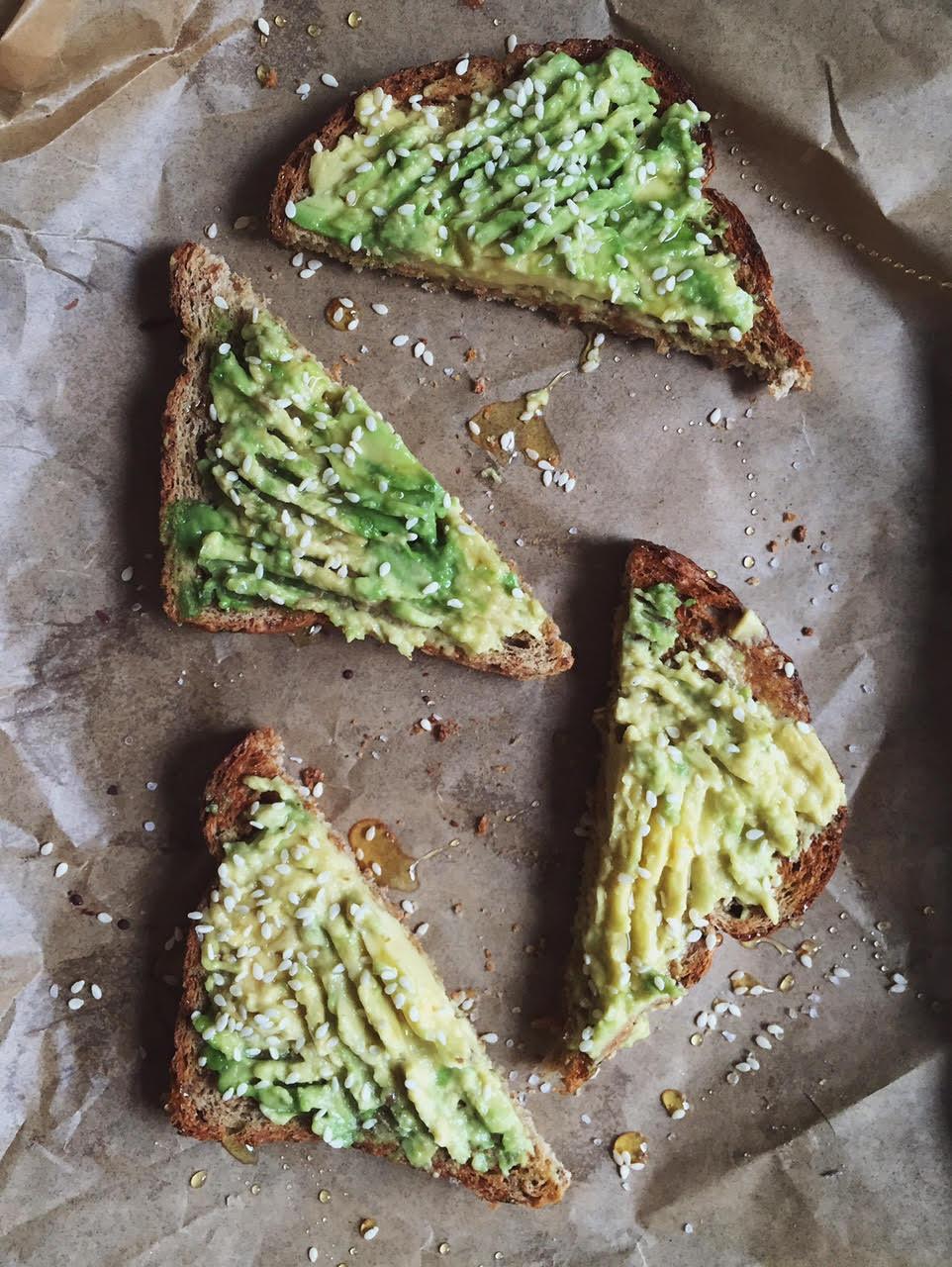 avocado toast with honey, sesame and sea salt