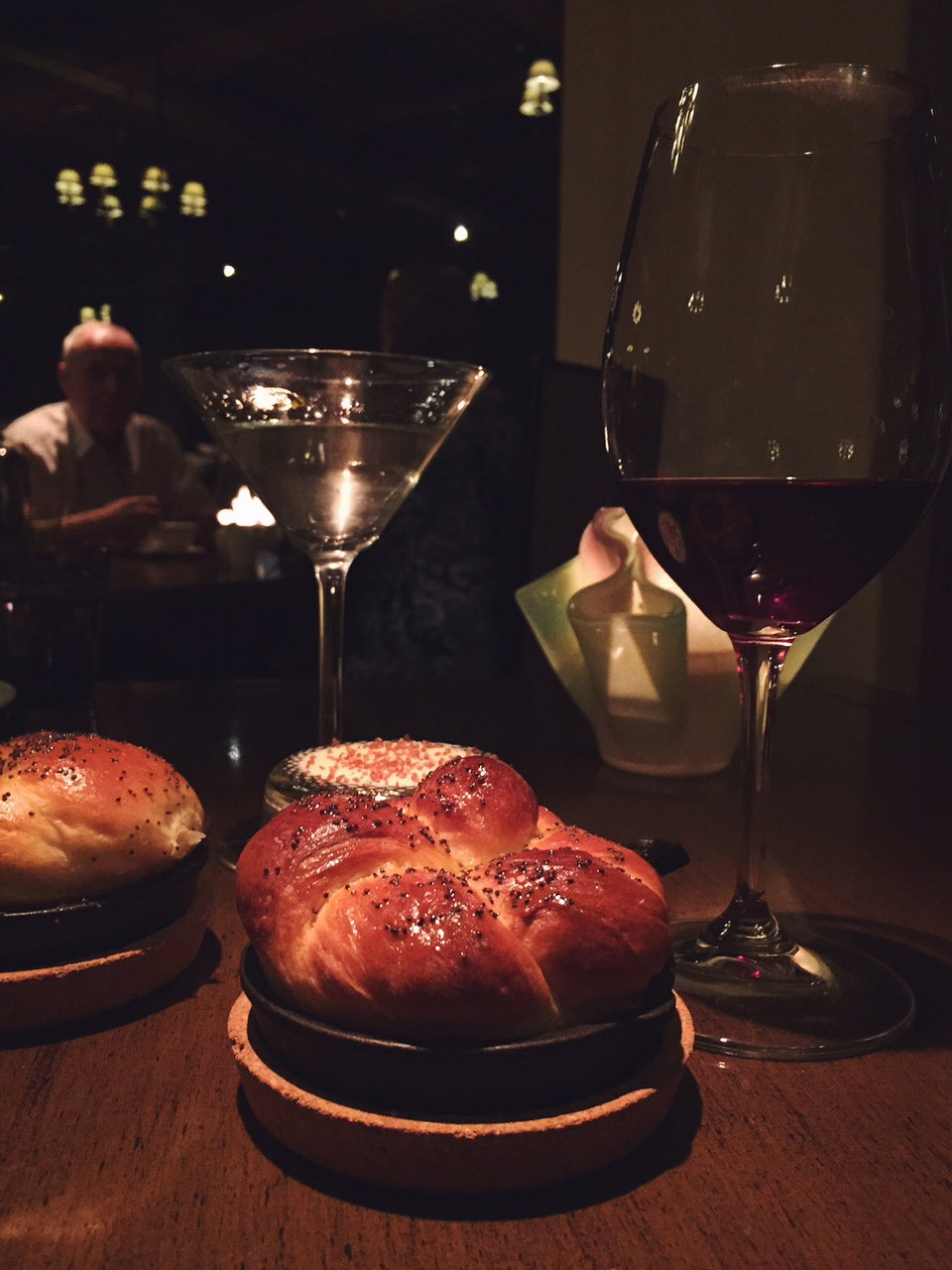 bread and wine at a restaurant in scottsdale