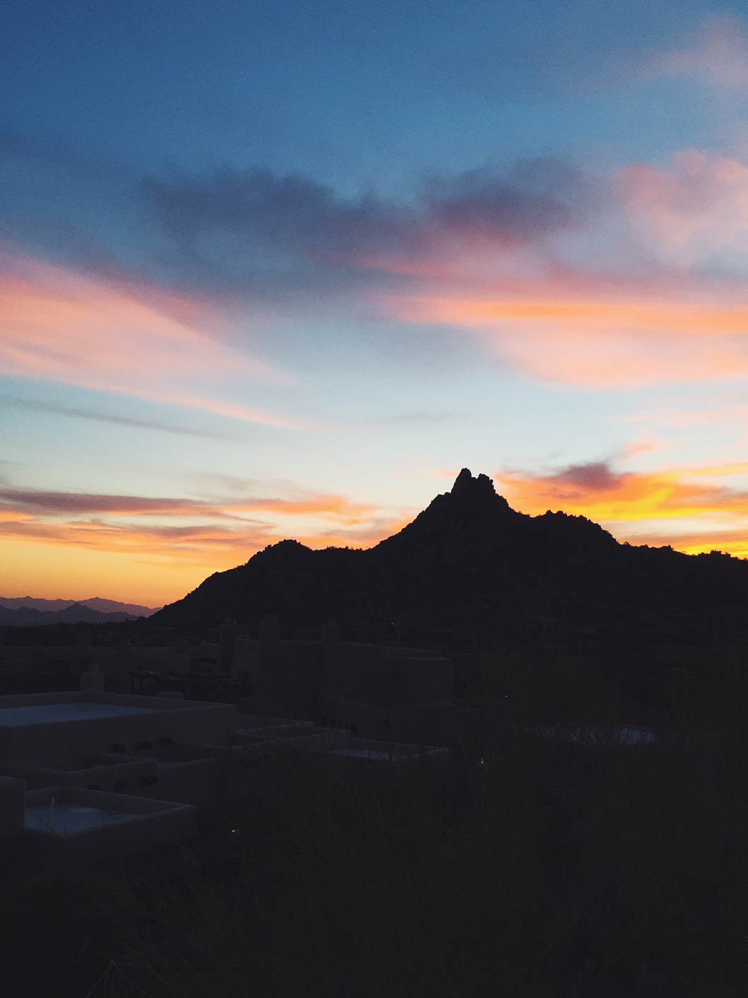 sunset over a mountain in scottsdale