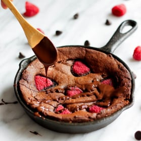almond flour brownies in a skillet
