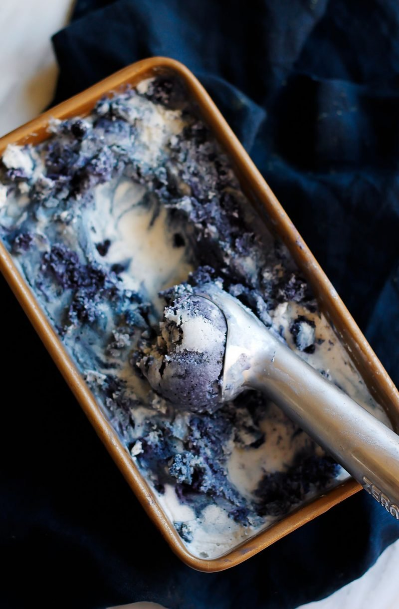 vegan coconut ice cream with blueberries in a container with an ice cream scoop