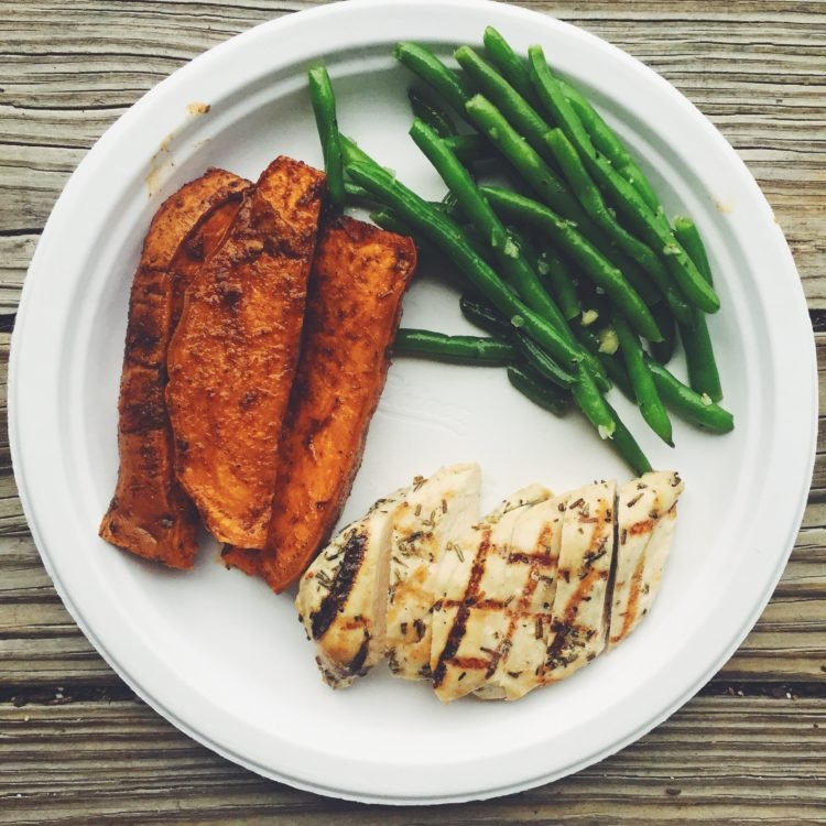 sweet potato, green beans, and chicken on a plate