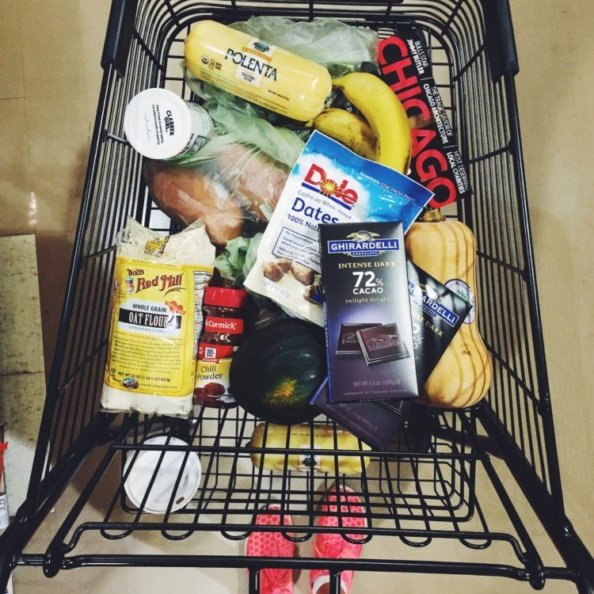 grocery cart filled with food