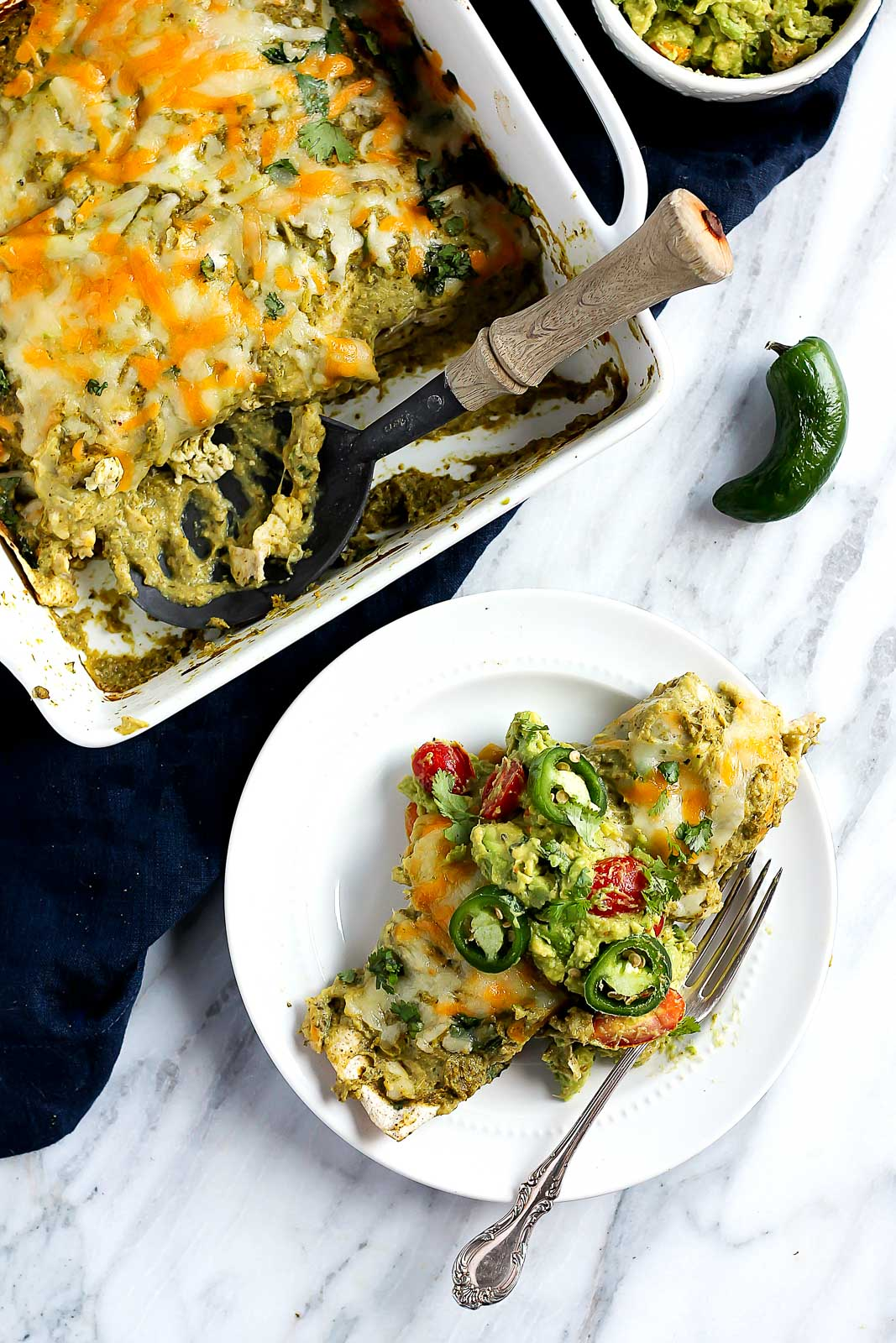 Healthy comfort food makeover! These small batch salsa verde chicken enchiladas will have you licking your plate clean. Double the recipe to serve a crowd!