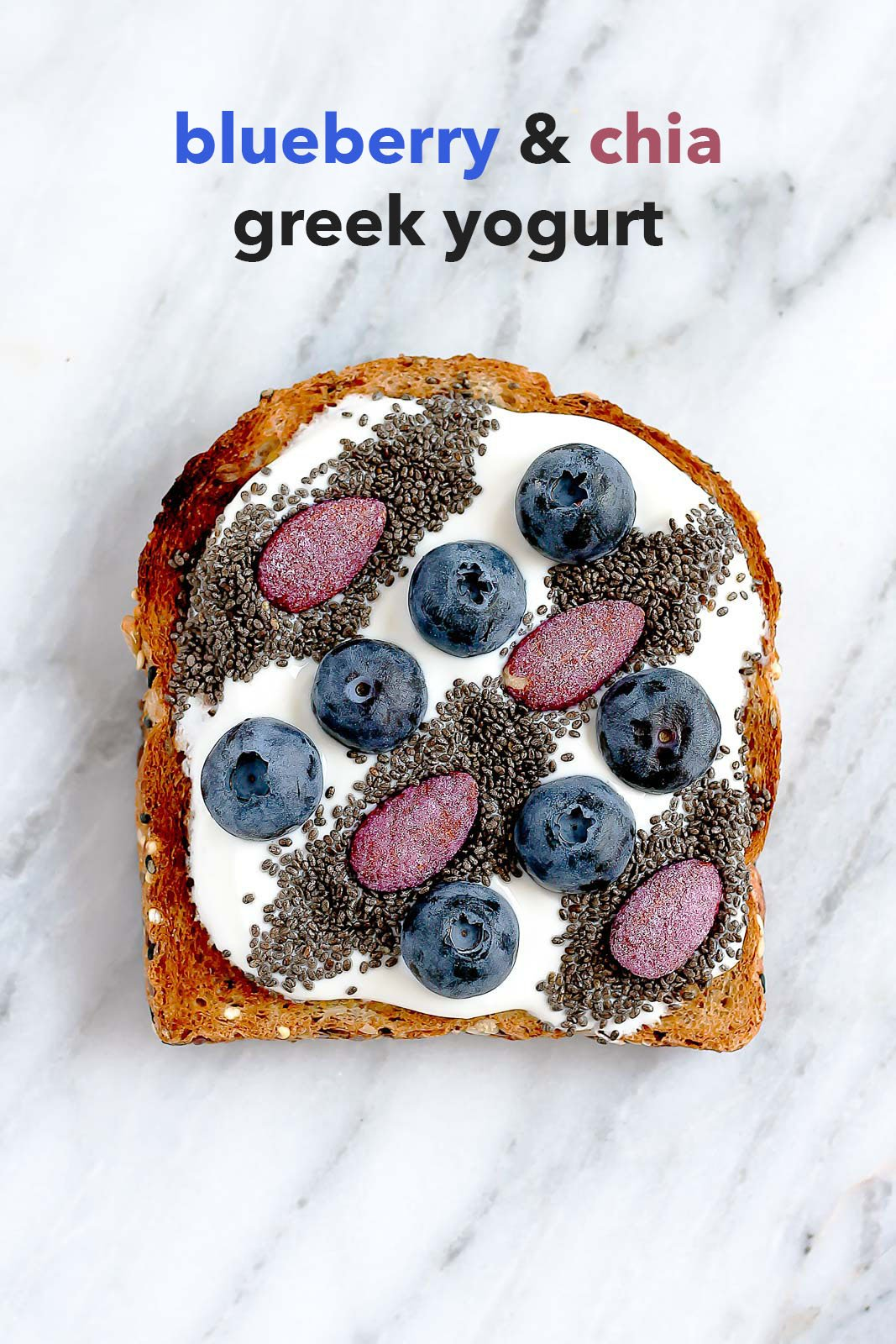 Greek yogurt, chia seeds & blueberries on toast + tons of healthy toast toppings!