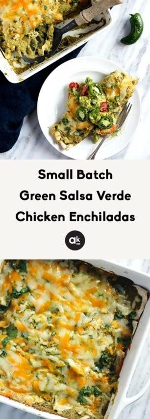collage of salsa verde chicken enchiladas