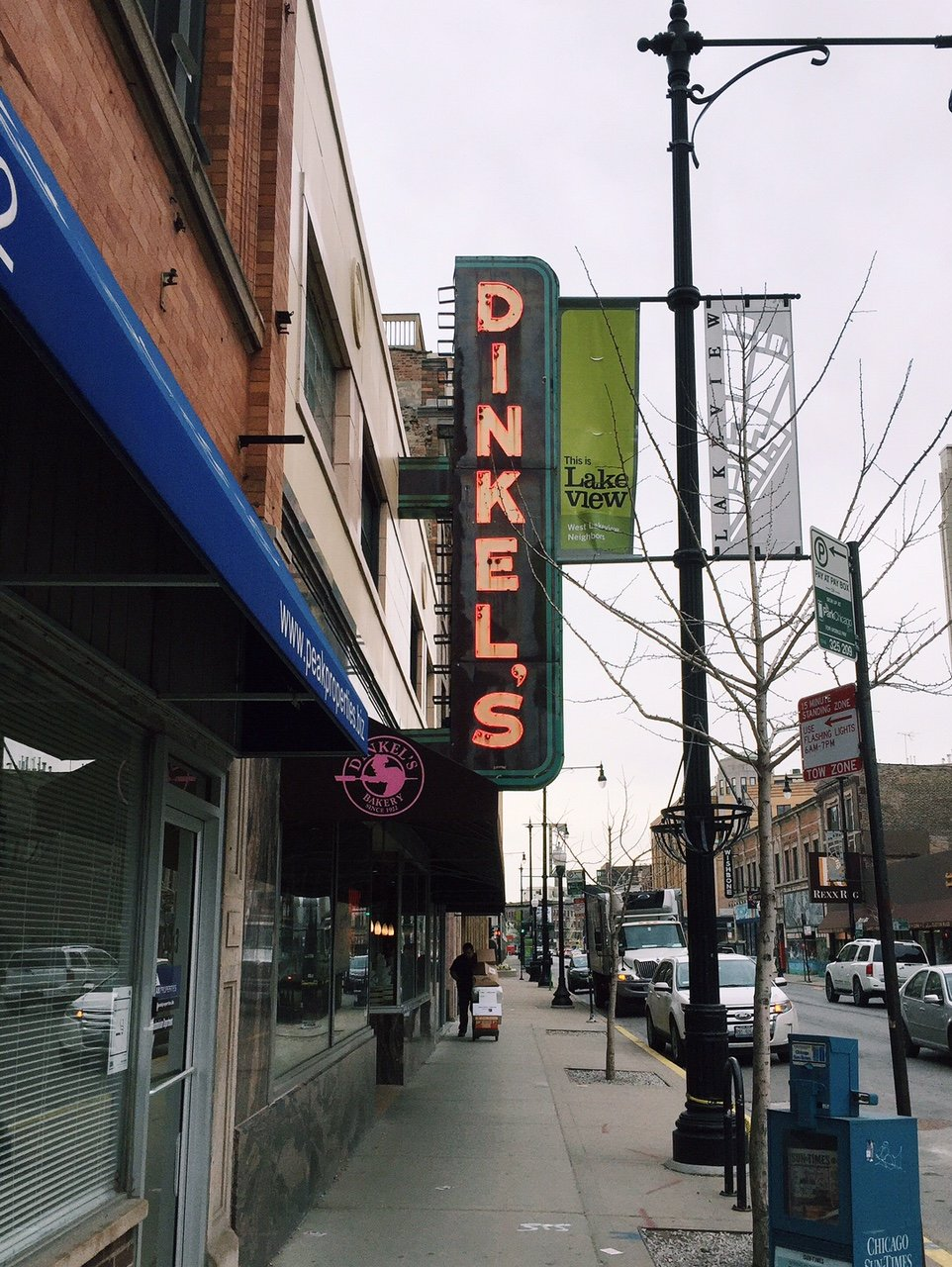 outside of Dinkel's donuts in Chicago
