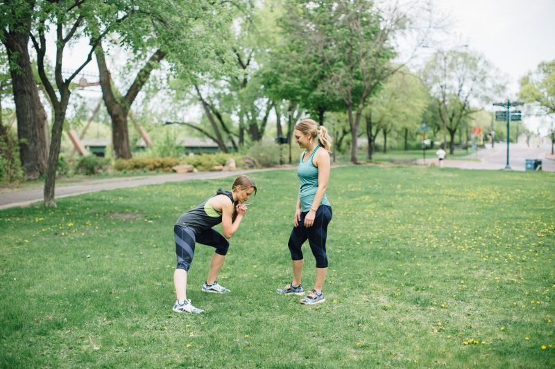 monique and lee working out in a park