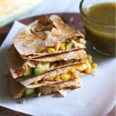 Vegetarian Calabacita Quesadillas with summer corn and zucchini sauteed in garlic, olive oil and spices