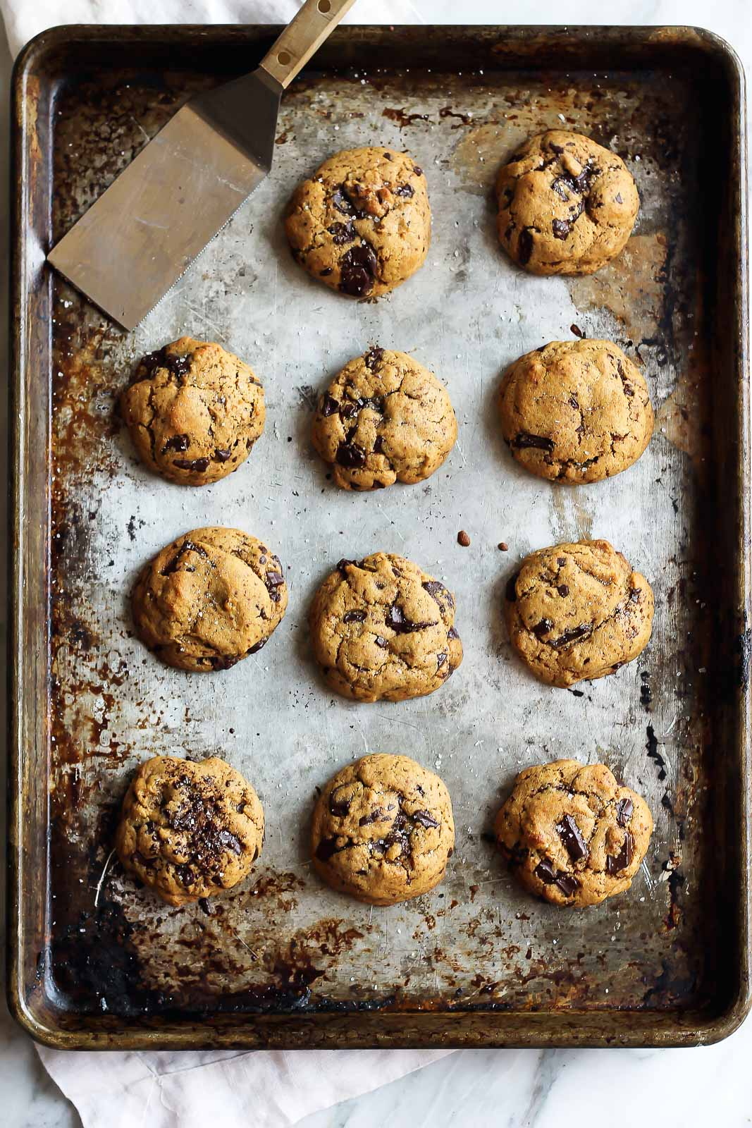 best cookie recipes: Chickpea Flour Chocolate Chip Cookies on a baking sheet