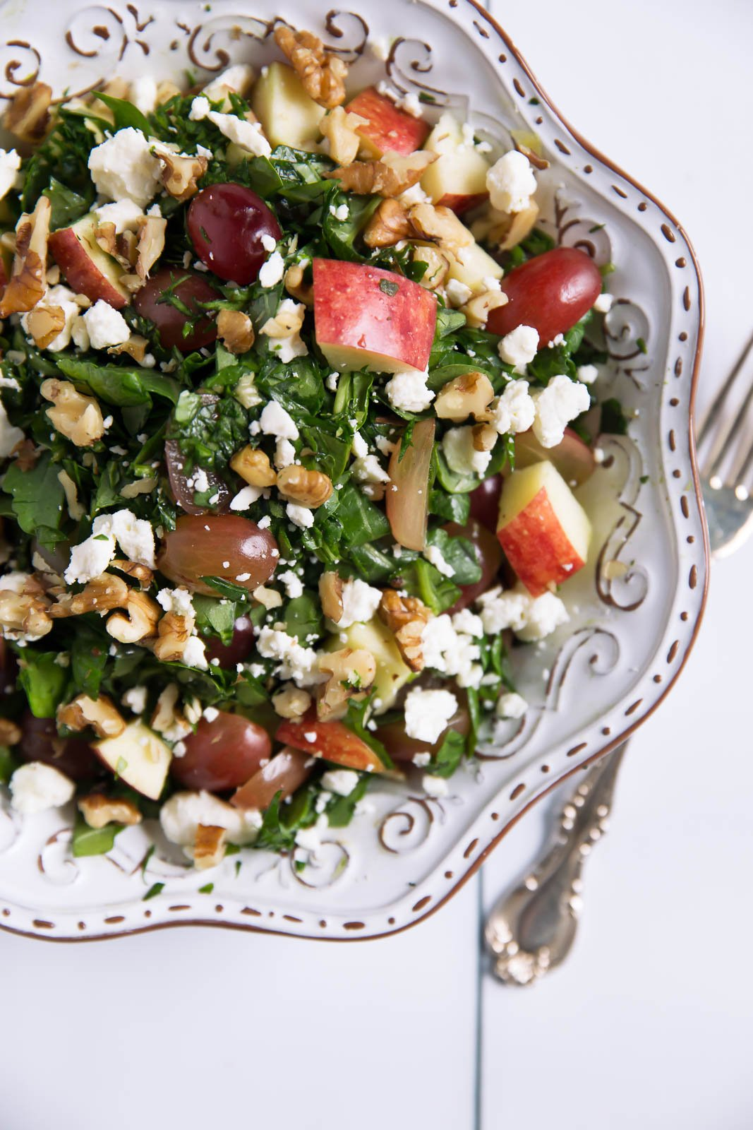 The ultimate fruit, cheese and nut salad packed with grapes, apples, toasted nuts, feta and a fantastic balsamic dressing. Easy to make & satisfying.