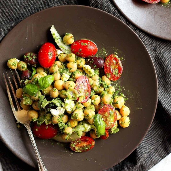 pesto chickpea salad on a plate with a fork