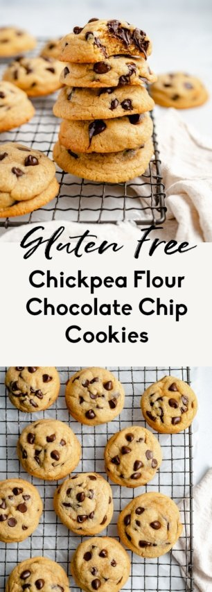 collage of chickpea flour chocolate chip cookies