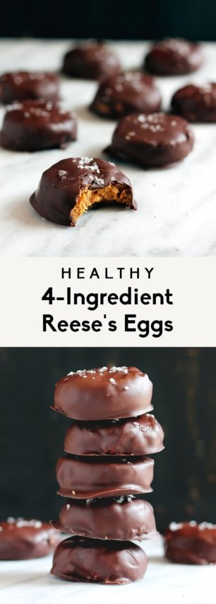 collage of vegan reese's eggs