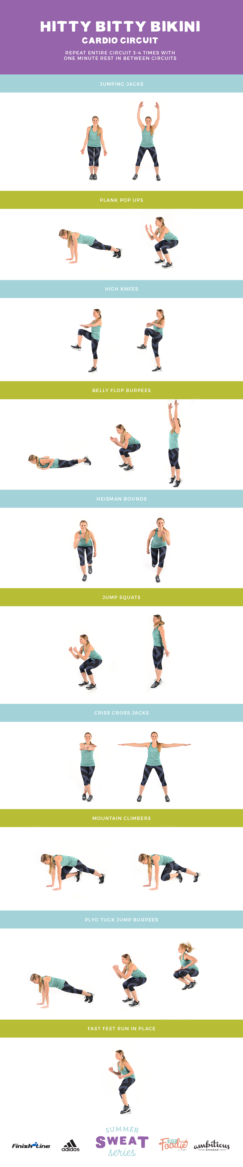 Summer Sweat Series BONUS workout. Heart pumping cardio circuit that burns calories and will get you in shape for Summer!