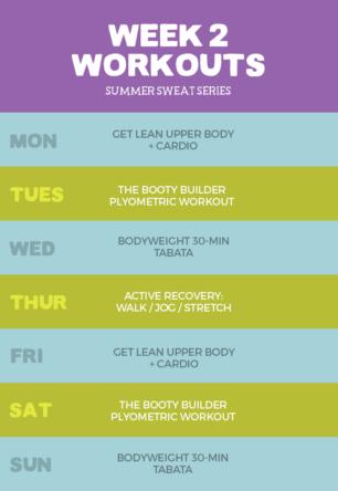 Week 2 Summer Sweat Series Workout Plan graphic
