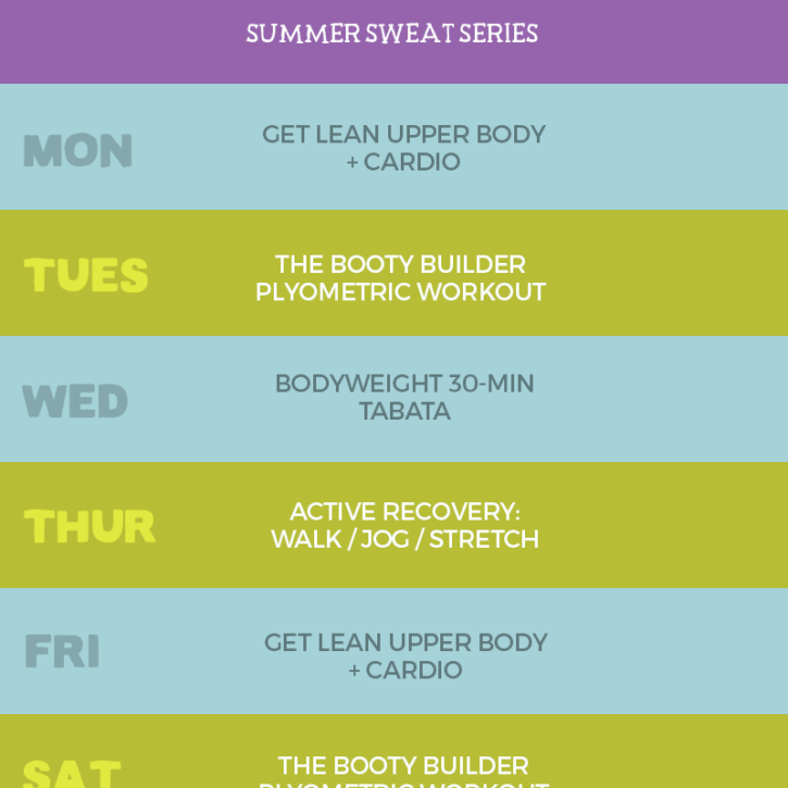 Week 2 Summer Sweat Series Workout Plan