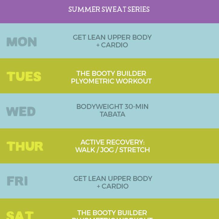 Week 2 Summer Sweat Series Workout Plan