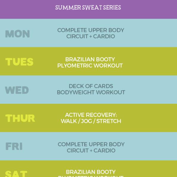 summer sweat series 4 week plan graphic
