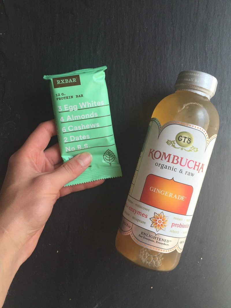 kombucha and a mint RXBAR
