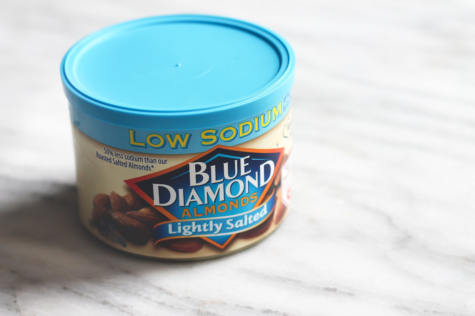 container of blue diamond almonds