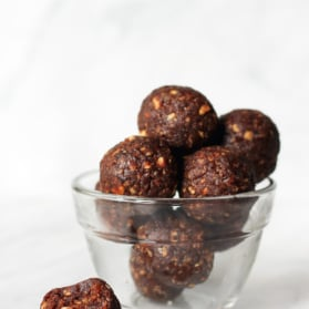 brownie energy bites in a bowl