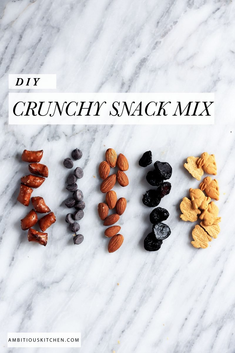 DIY crunchy snack mix with text overlay