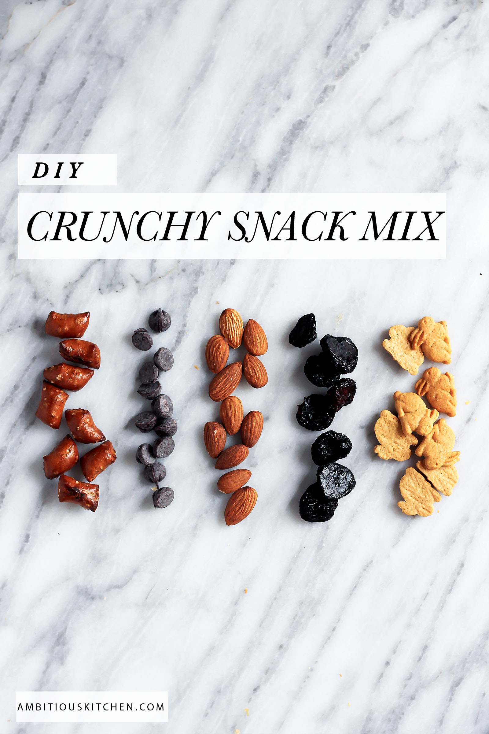 DIY CRUNCHY SWEET & SALTY MIX -- plus other healthy snack mixes to try & tips on snack portion control!