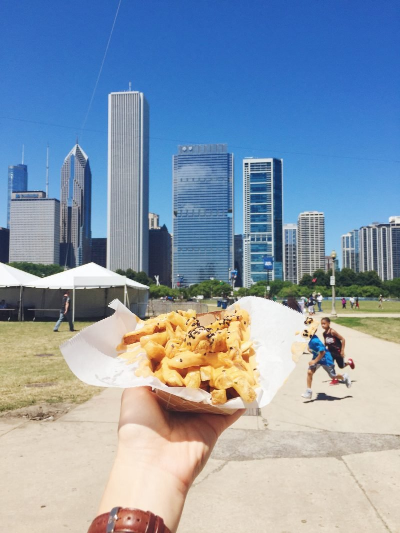 french fries with the skyline in the background