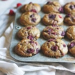 Raspberry, Almond Butter & Banana Oatmeal Muffins