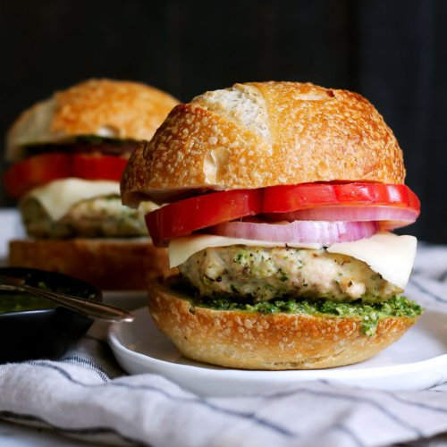 Healthy Chicken Burgers With Spinach Basil Pesto Mozzarella Ambitious Kitchen