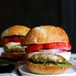 Healthy Chicken Burgers with Spinach Basil Pesto & Mozzarella