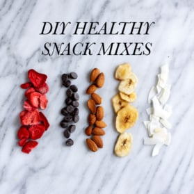 healthy snack mixes with text overlay