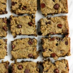 almond flour banana blondies cut in squares