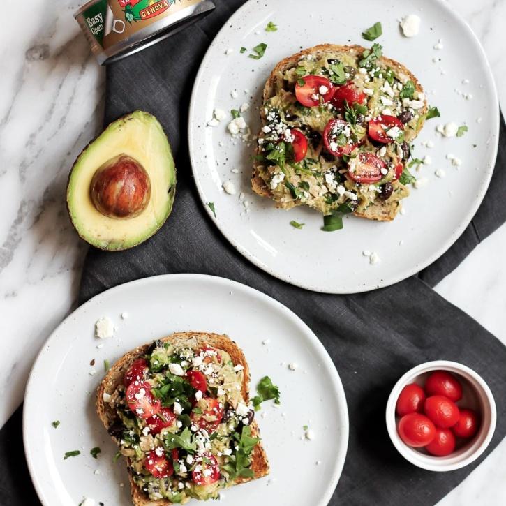 High Protein Black Bean Avocado Tuna Salad Sandwiches