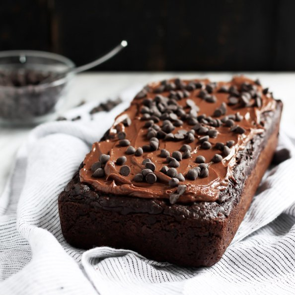 healthy double chocolate zucchini bread on a linen