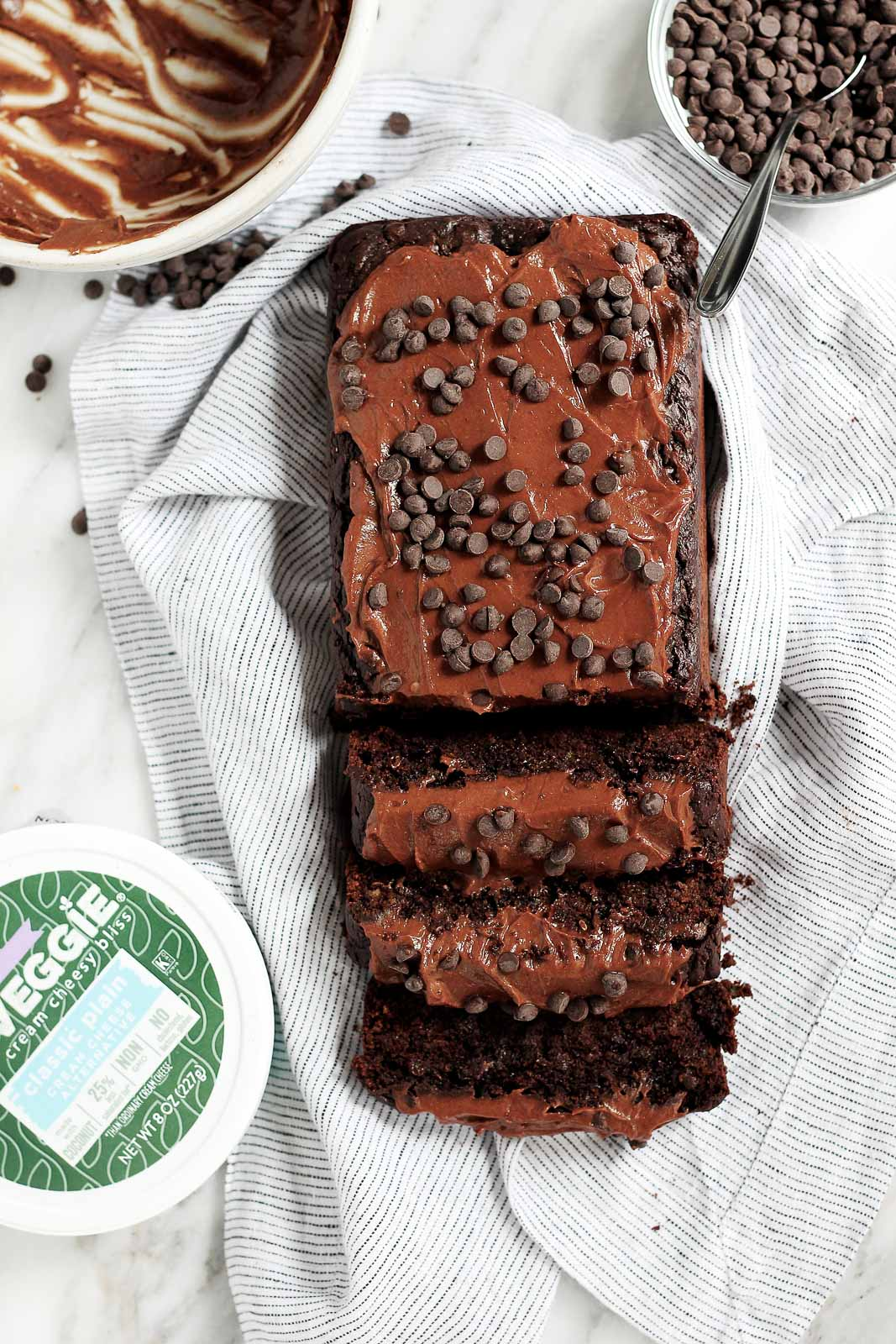 double chocolate zucchini bread on a linen