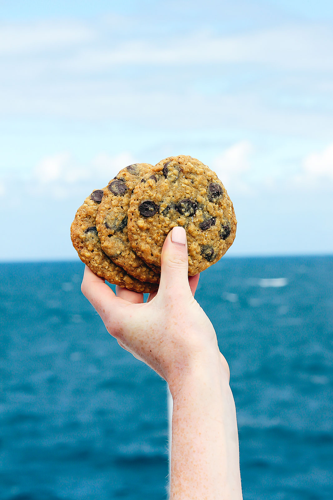 holding cookies in the air over the ocean