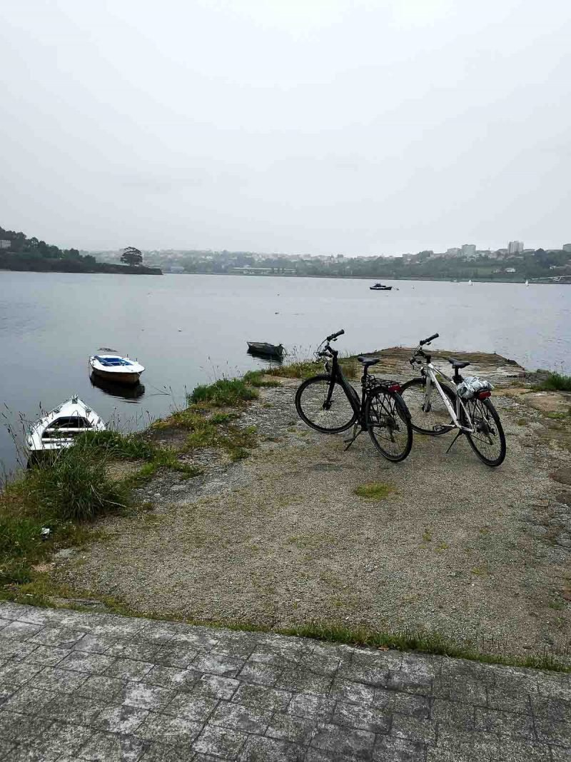 bikes overlooking a lake