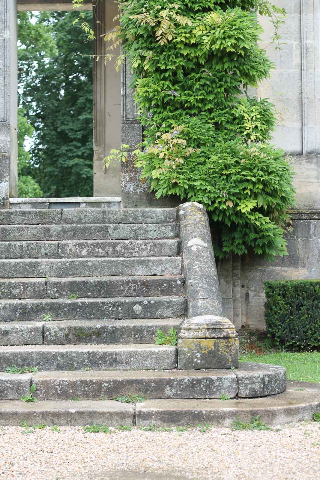 stone steps with greenery