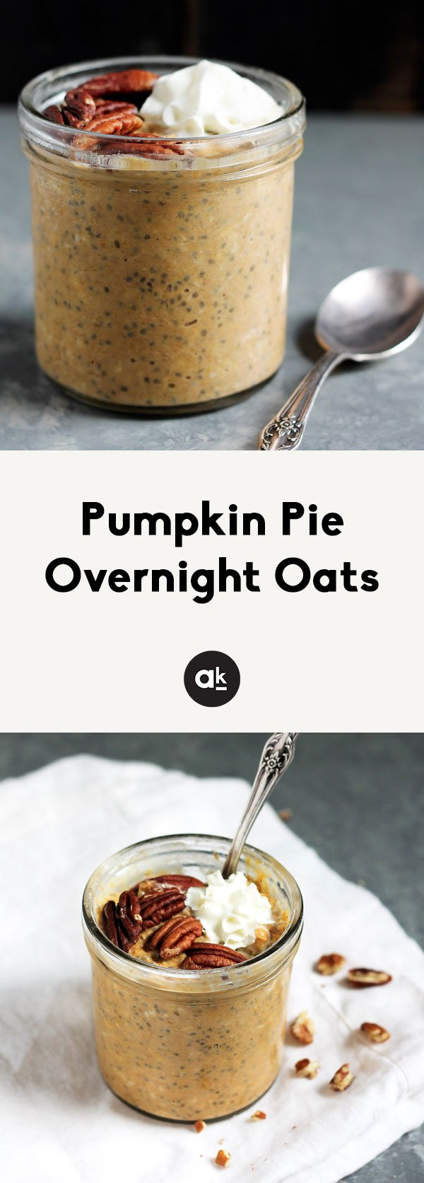 Thick and creamy pumpkin pie overnight oats with chia are such a healthy, yummy breakfast! Top with whatever your heart desires!